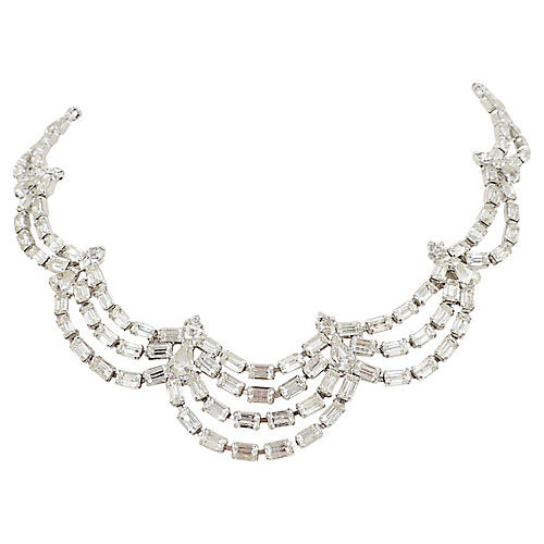 1950s Kramer Rhinestone Festoon Necklace