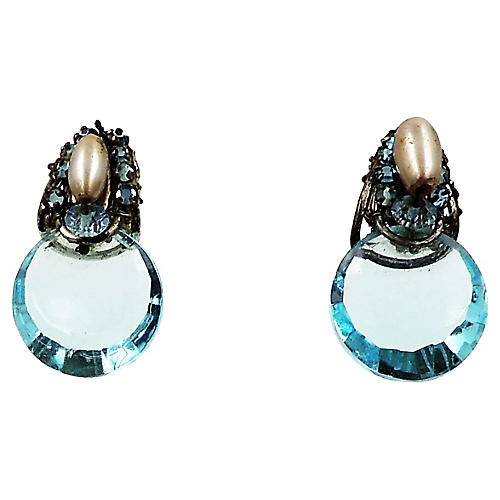 Miriam Haskell Pate de Verre Earrings