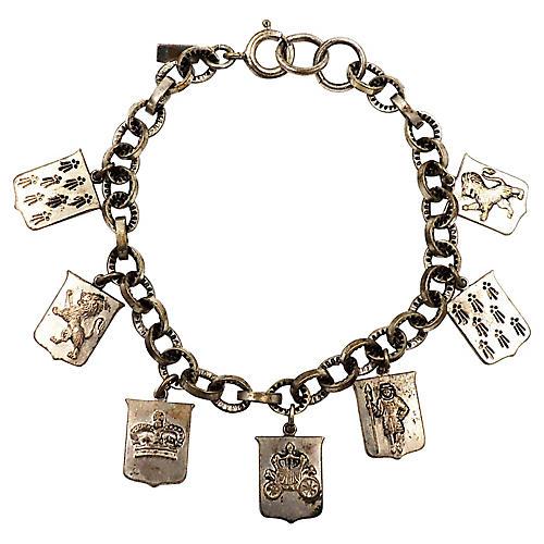 1930s Monet Coat-of-Arms Charm Bracelet