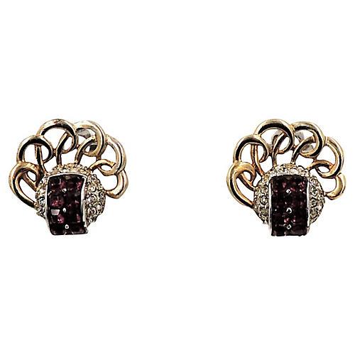 1950s Boucher Faux-Amethyst Earrings