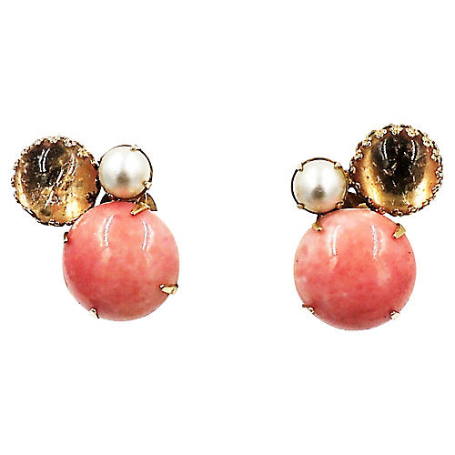 Schreiner Cabochon Faux-Coral Earrings