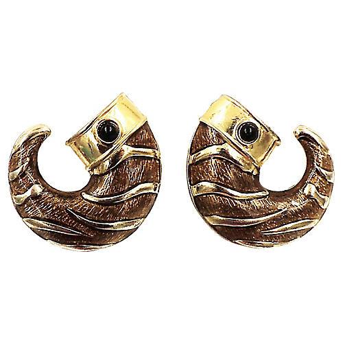 Guy Laroche Brown Enamel Earrings