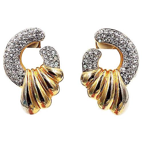1980s Courrèges Pavé Rhinestone Earrings