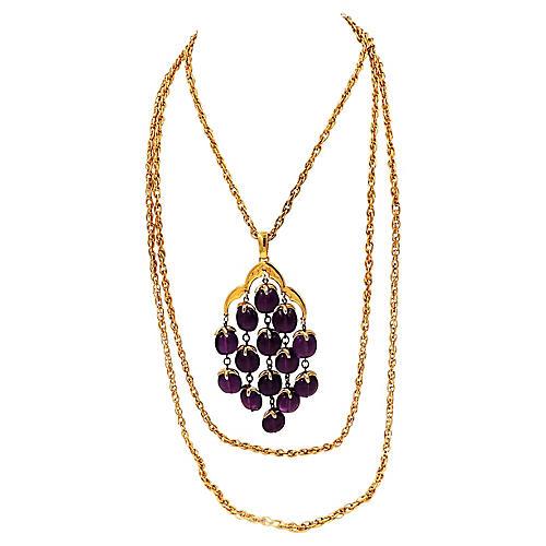 1970s Trifari Purple Waterfall Necklace