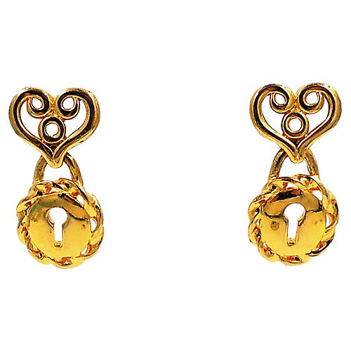 Givenchy Heart & Lock Earrings