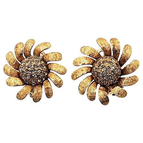 1960s Jomaz Pavé Sunflower Earrings