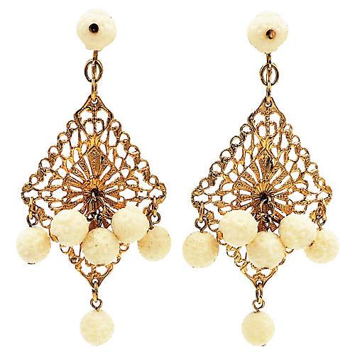 1970s Napier White Flower Drop Earrings