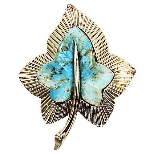 1950s Boucher Faux-Turquoise Leaf Brooch