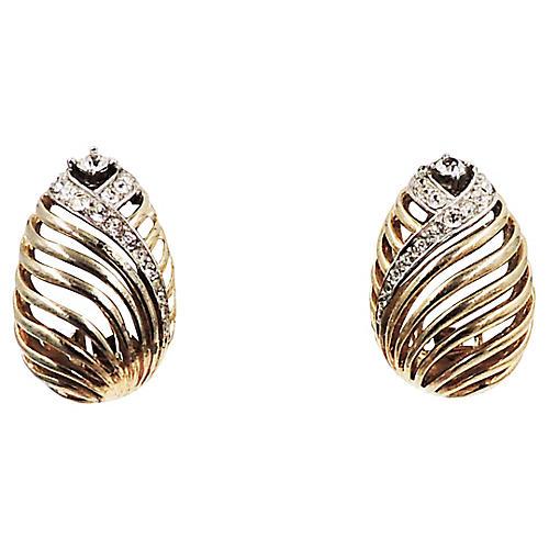 1950s Boucher Rhinestone Earrings