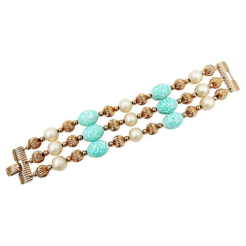 Napier Faux-Pearl & Green Bead Bracelet