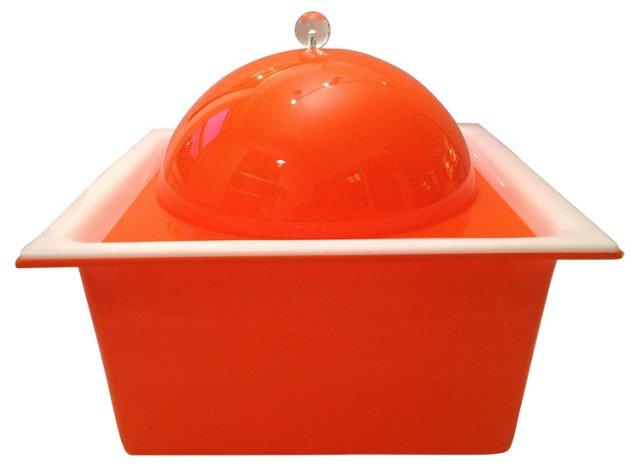 Orange Lucite Ice Bucket