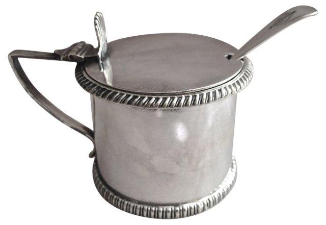 English Silver Mustard Pot w/ Spoon