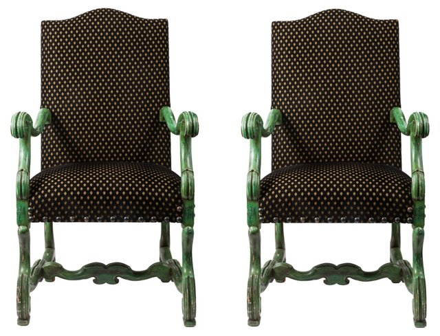 Spanish Baroque-Style  Armchairs, Pair