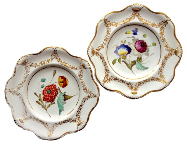 18th-C. Hand-Painted Floral Plates, Pair