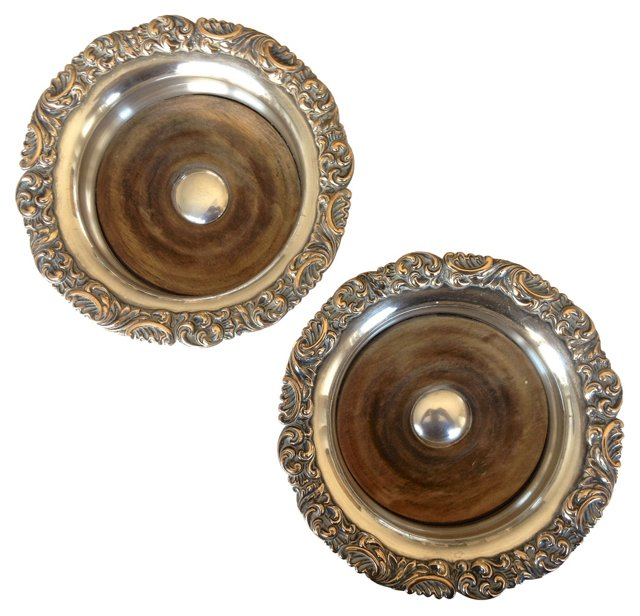 Victorian Silver Wine Coasters, Pair