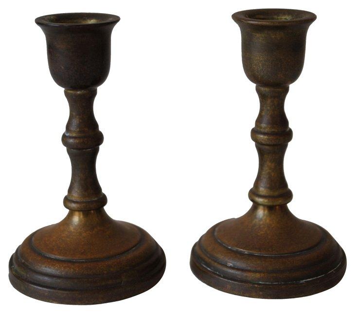 Miniature Brass Candleholders, Pair