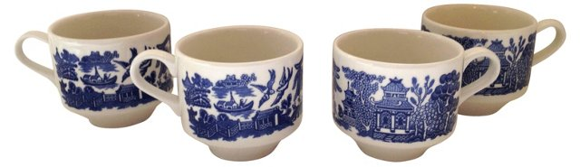 Blue Willow Coffee Cups, S/4