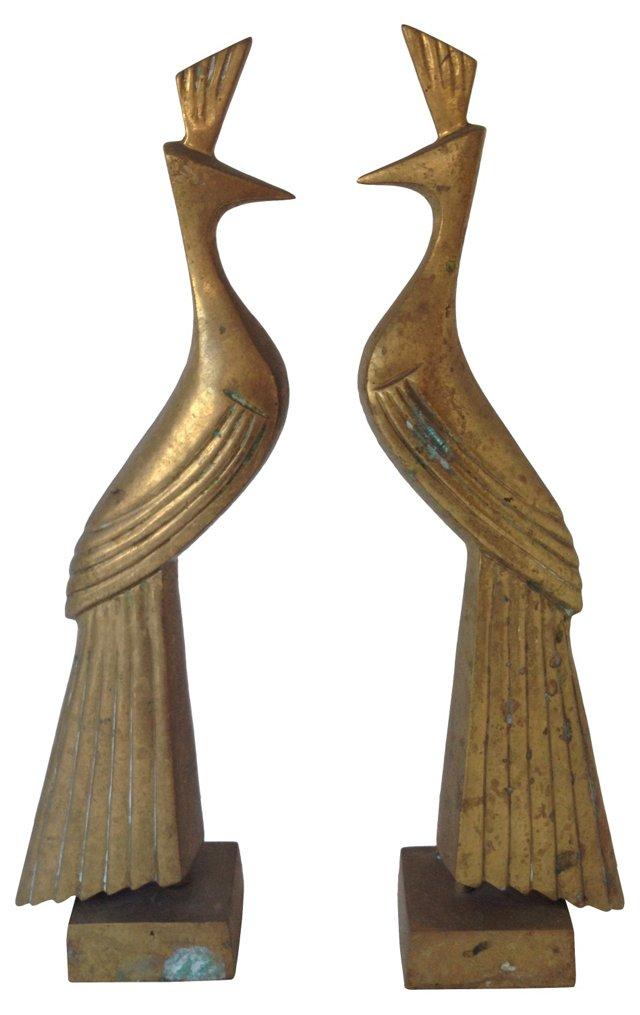Brass Peacocks, Pair