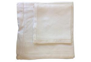 White Percale Napkins & Tablecloth, S/5