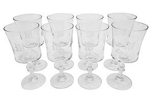 "Monogramed ""M"" Wineglasses, S/8"