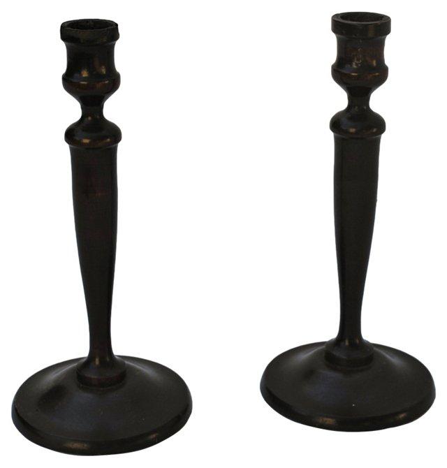 Mahogany Candlesticks, Pair