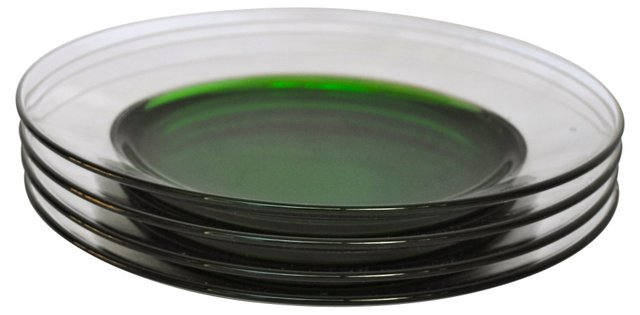 French Green Glass Plates, Set of 4