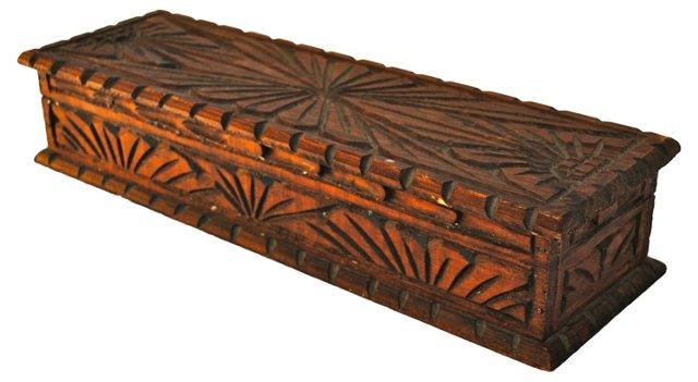 Hand-Carved Oak Box