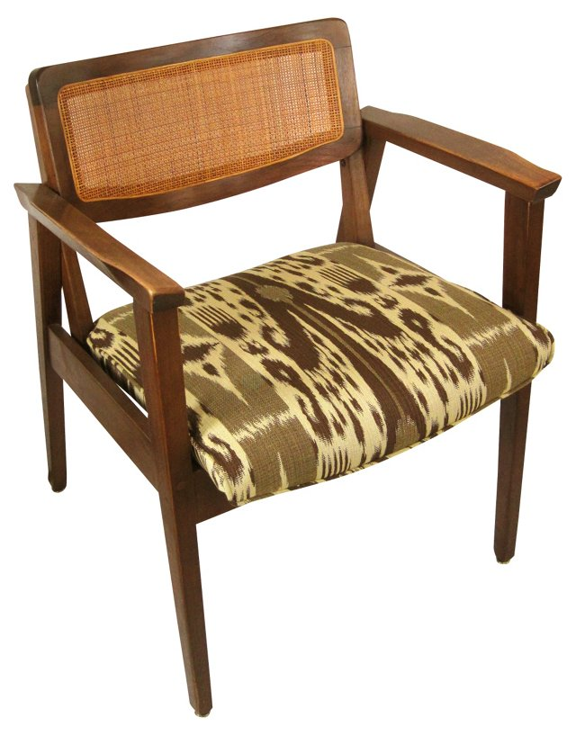 Midcentury Cane-Back Chair w/ Ikat Seat