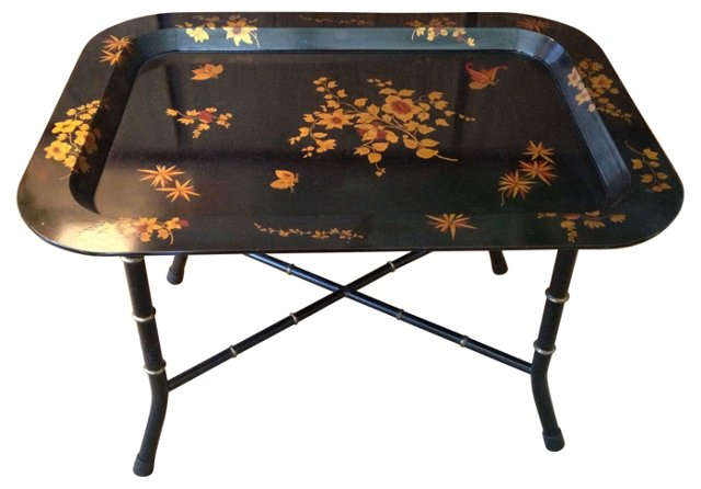 Black Lacquer Chinoiserie Tray-Top Table