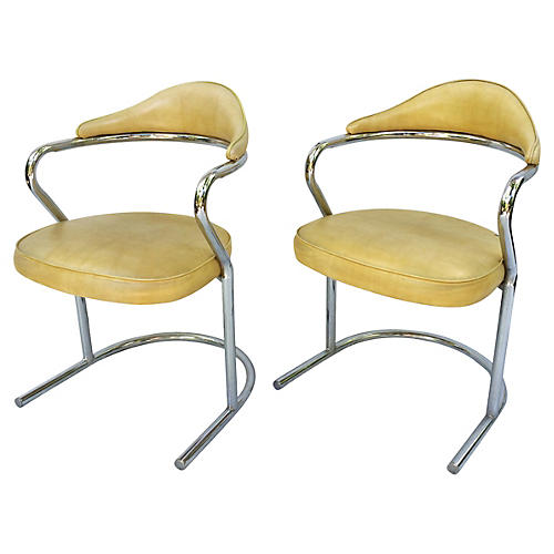 Tubular Chrome Cantilever Chairs, Pair