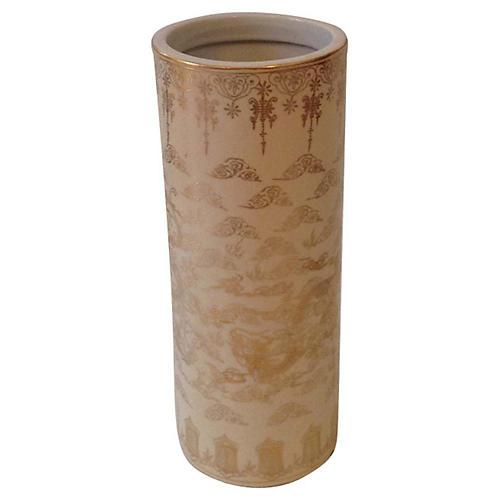 White & Gold Dragon-Motif Vase