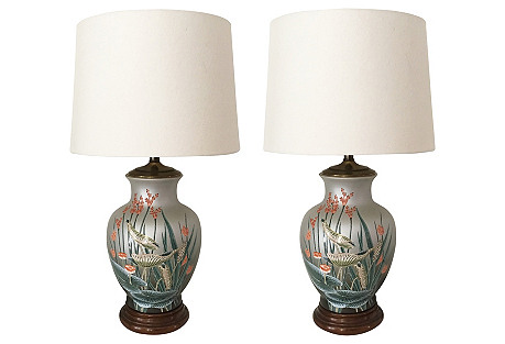 Hand-Painted Asian Table Lamps, Pair