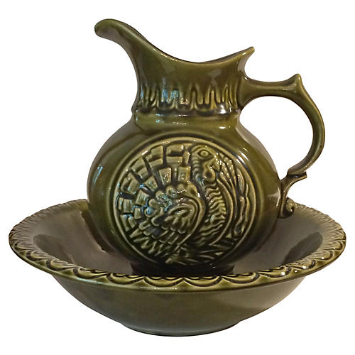 McCoy Turkey Pitcher and Bowl Set, Green