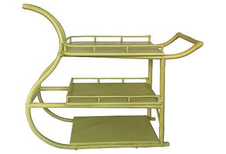 1960s Rattan Bar Cart