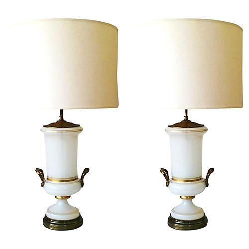 Urn Opaline Lamps, Pair