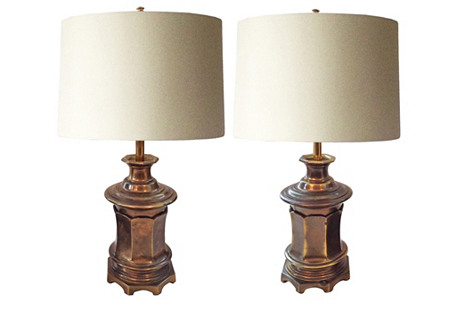 Burnished Brass Lamps, Pair