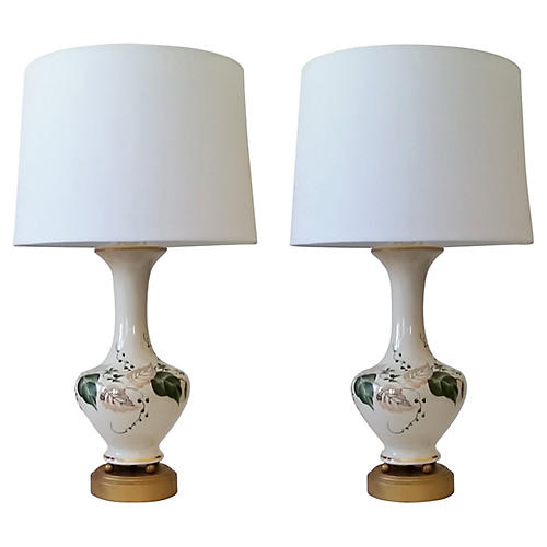 Ceramic Leaf Table Lamps, S/2