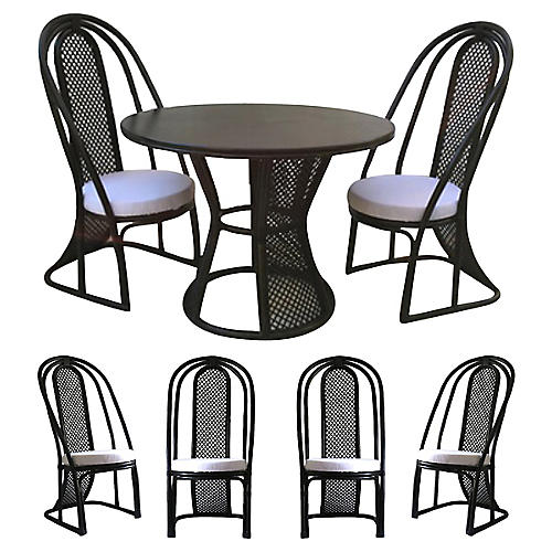 Black Lacquered Rattan Table & 6 Chairs