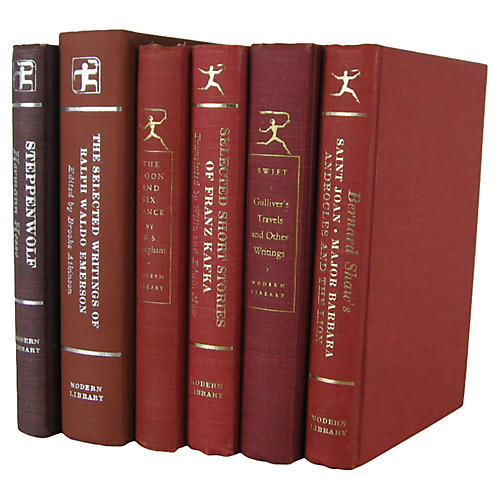 Red Modern Library Set, S/6