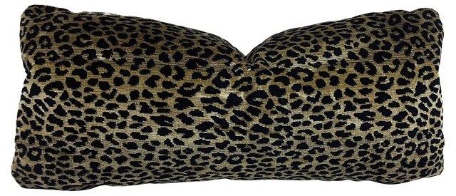 Velvet Leopard-Print Tapestry Pillow