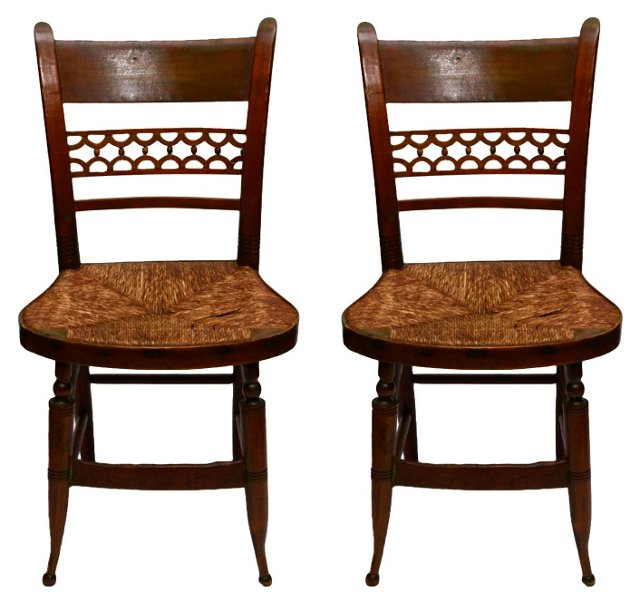 19th-C. Wood Side Chairs, Pair