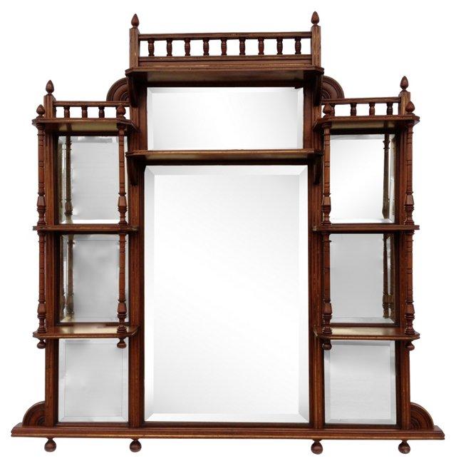 Antique Mahogany Curio Shelf & Mirror