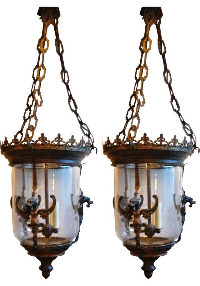 Antique Brass Griffin Lanterns, Pair