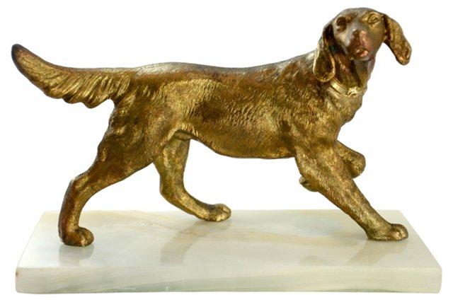 Bronze Setter on Marble Base