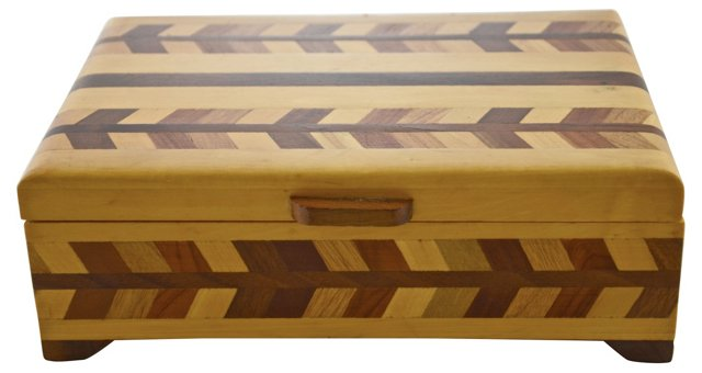 Chevron Inlaid Wood Box