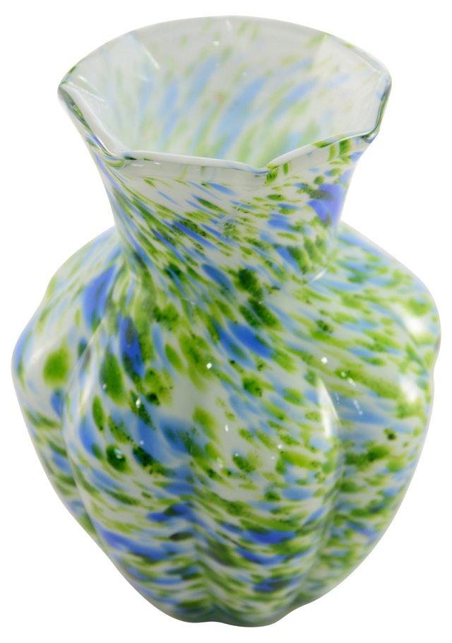 Blue-Green Art Glass Vase