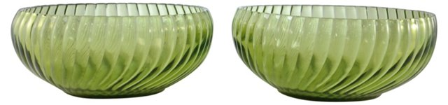 Midcentury Green Bowls, Pair