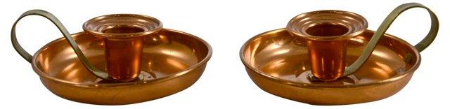 Copper Candlesticks, Pair