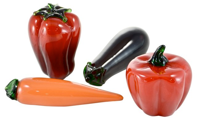 Art Glass Vegetables, S/4