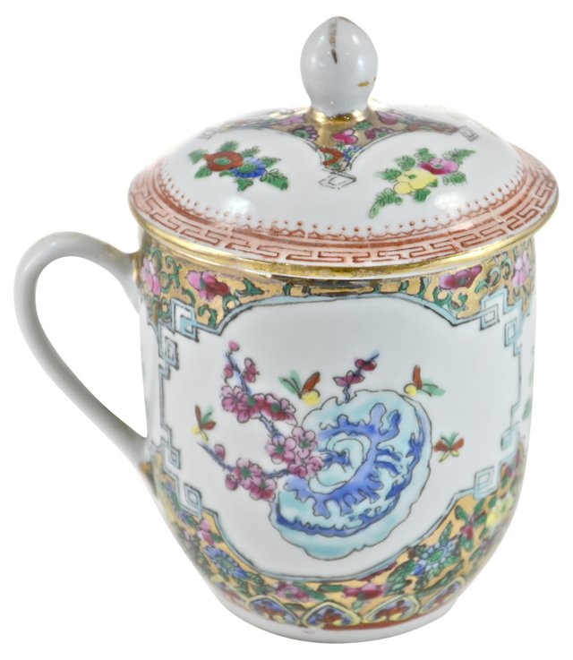 Blue Floral Porcelain Lidded Teacup